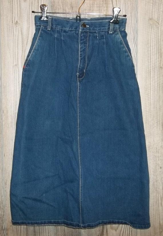 vintage bonjour high waist skirt 7 denim 80s jean skirt