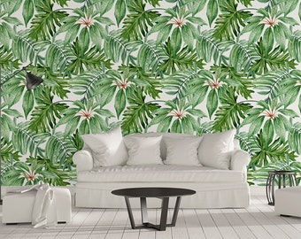 Banana Leaf Removable Wallpaper - Banano Leaves Wallpapers - Peel & Stick - Self Adhesive Fabric - Temporary Wallpaper - SKU: BAN