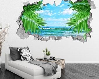 Palm Leaf and Sea - 3d Wall - 3d Wall Art - Wall Sticker - Wall Decal - 3d Wallpaper - 3d wall decals - 3d printed - 3d art - SKU: LESE3DW