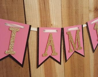 Pink, Black & Gold Glitter High Chair Banner, Happy Birthday Banner, One Banner, I Am One Banner, I Am Two Banner