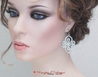 New Orleans Earrings. Crystal Wedding Jewelry Bridal Earrings Bridesmaid Accessory Silver Crystal New Orleans Jewelry - Ruby Blooms Jewelry