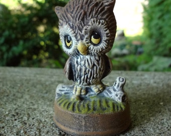 Cute Owl On Branch Figurine // Vintage Owl // Woodland Home Decor