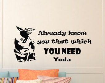Wall Decals Yoda Star Wars Quote Decal Already Know You Sayings Sticker Vinyl Decals Wall Decor Murals Z289