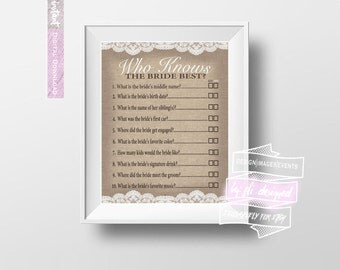 Who Knows the Bride Best? Questions - Bridal Shower - Game Sheets - Burlap & Lace *DIGITAL DOWNLOAD*