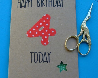 Handmade age four Birthday card