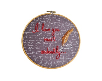 Jane Austen Lovers Gift Austen Fans Hand Embroidery Mr Darcy Elizabeth Bennet Pride and Prejudice Lovers Engagement Gift Feather Embroidery
