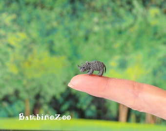 Miniature amigurumi Rhinoceros. Comes with FREE display box.