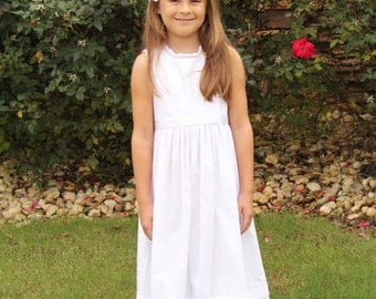 First Communion Dress Simple Classic Look Vintage Heirloom Dress, girls Beach Dress white, Baptism white dress long tea length 7 8 10 12