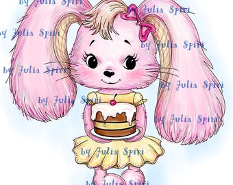 Digital Stamps, Digi stamp, Coloring pages, Bunny stamps, Pets stamp, Cake. The Collection: I have Something for You! The Bunny and Cake