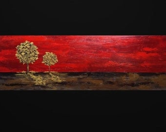 Abstract landscape painting Red abstract painting Original oil painting Abstract art Nature painting Tree painting Modern abstract 12x36""