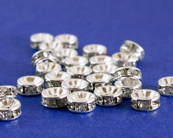 20 pcs - 8mm Rondelle Spacer Silver and Clear, 8mm Crystal Spacer-  SP-B12772-8S