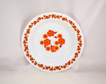 Vintage ARCOPAL Lotus soup plates / orange flowers 70s