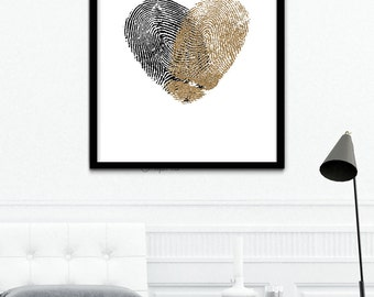 Black and Rose Gold Fingerprint Poster, Rose Gold Wedding Heart Print, Black Thumb Prints, Rose Gold Leaf Prints, Personalized Gift Print