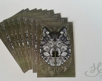 Wolf print postcard and polygons format A6