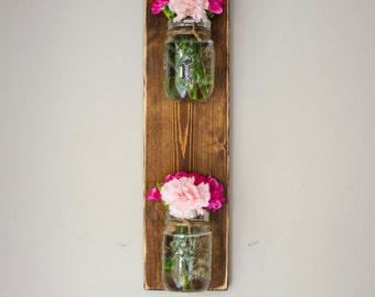 Vertical Mason Jar Wall panter / Mason Jar Wall Hanging Planter / Organizer Decor / Indoor Outdoor Mason Jar Herb Garden