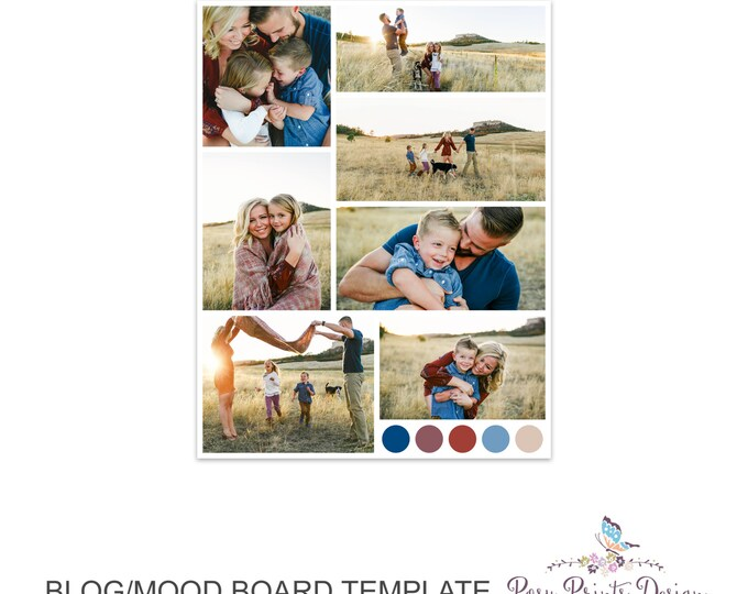 Blog Board & Mood Board - Collage Template - 8.5x11 - Social Media Collage Template - Digital Storyboard - Instant Download - BMB01