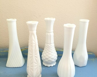 Milk Glass Vases / Wedding Milkglass Vases / White Bud Vase Collection / Instant Collection Flower Vases / Reception Shower Party Decor Vase