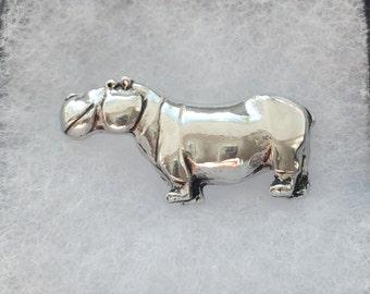 Hippo brooch, Hippopotamus, african animal pin, fashion jewelry, silver pin, best friend, birthday gift, hippo art, stocking gift, brooch