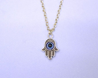 Hamsa necklace with evil eye, Hamsa necklace, silver hamsa, opal hamsa necklace, evil eye necklace, hamsa hand necklace, kabbalah necklace