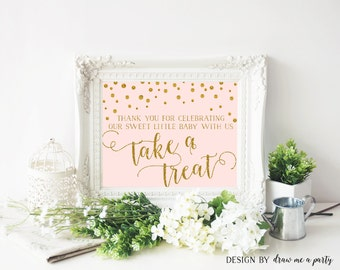 Pink and Gold Confetti Baby Shower , Dessert Table Sign , Please Take A Treat Sign , Favor Table Sign , Treat Sign , Printable , Download