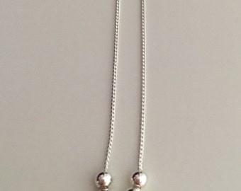 Delicate beads necklace, five beads, sterling silver beads and chain