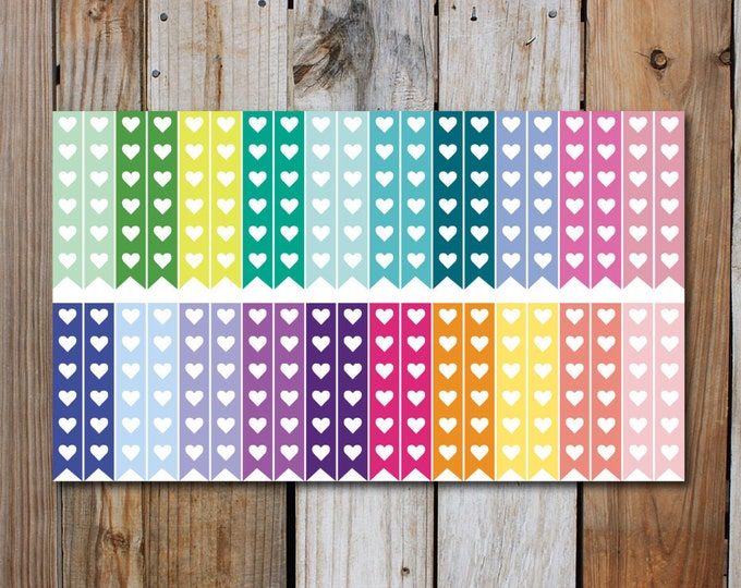 Heart Checklist Stickers for use with ERIN CONDREN Life Planner Various Colors (40 Count)