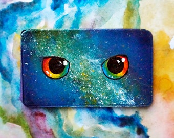Business Card Holder/ Colorful Galaxy Painting/ Rainbow Owl Eyes