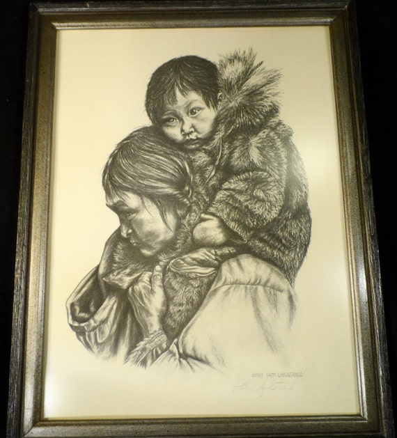 "Fine Art-Print-Alaskan artist Patti Lindstrand 12''x 16'' print called ""Hitchin A Ride""-Woman and Child drawing"
