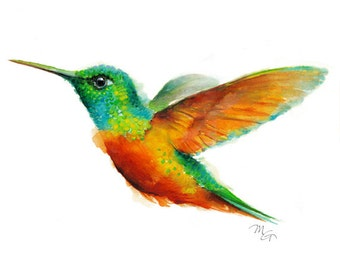 Hummingbird Watercolor Giclee Print -  Wildlife Illustration, Green Red Yellow Bird Paintng