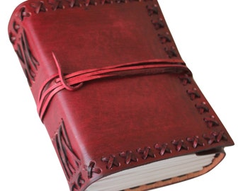 Vintage Genuien Leather Journal Diary (Handmade) - Leather Cord Coptic Binding and leather tie closure