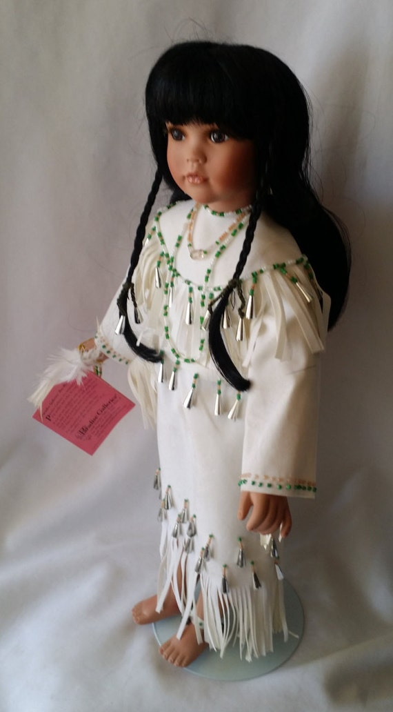 Native American Indian Porcelain Doll Vintage 16 Doll