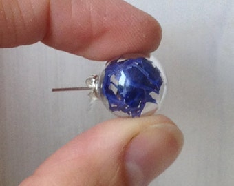 Hand blown glass ball earrings lobo and cornflower blue flowers