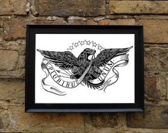 American Eagle 'E Pluribus Unum' - Illustrated A4 Print
