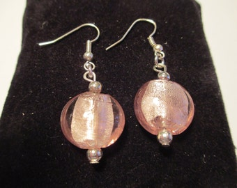 Pink Glass Round Drop Earrings, Silver Plated Earrings, Pink Earrings, Glass Earrings