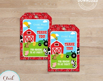 Farm Favor tags, Barn Party, barnyard animals, Old Mc Donald gift tags, Thank you tags, Sticker tags, Party Decorations, Birthday Printables
