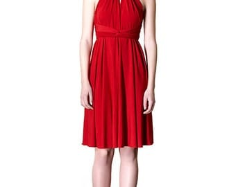 Red Dress Short Skirt Dress Infinity Convertible Dress Formal Multiway  Wrap Dress Elegant Versat