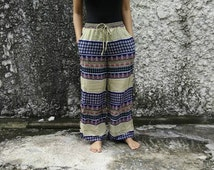Palazzo Pants Boho print Style Floral Aztec Vintage Gypsy Hippies Clothing Summer Trousers Bohemian festival women fashion blue yellow