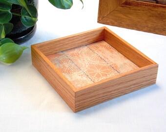 Vanity Tray - Square Tray - Dresser Tray - Jewelry Tray - Trinket Tray - Decorative Wood Tray - Small Wooden Tray - Rustic Decor - Orange