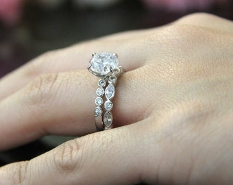 3.02 ct.tw Bridal Set Ring-Brilliant Cut Diamond Simulant-Solitaire Engagement Ring-Eternity Ring-Wedding Ring-Sterling Silver [61334-2]