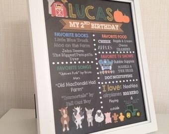 8x10 Farm Chalkboard Birthday Poster - Barnyard Birthday Party- Old MacDonald Had a Farm Birthday Sign - Printables