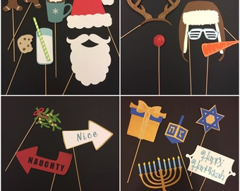 Christmas Party Props / Holiday / Hanukkah photo booth props 20 pieces/ christmas decorations