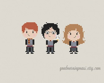 Harry Potter Cross Stitch - Ron Harry Hermione Counted Cross-Stitch - PDF Download pattern