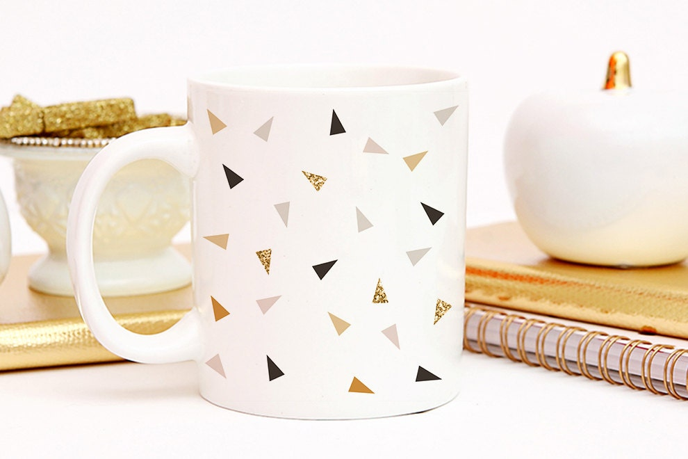 Coffee black and gold polka dot coffee cup minimalist for Minimalist gifts for housewarming