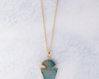 Blue and Clear Arrowhead Pendant Necklace