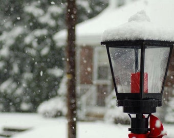 Snow covered lamppost, Printable Art