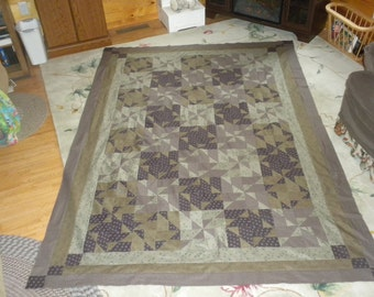 homemade quilt top 70x96 Queen/Full green/brown
