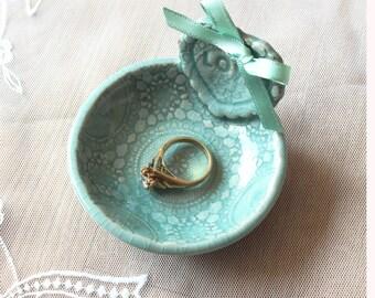Celadon Lace Wedding Ring Dish, Wedding Ring Holder