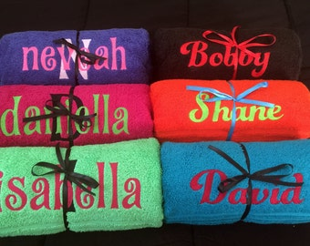 Embroidered Bath Towels, Personalized Towels, Bath Towels, Kids Personalized Towels, Birthday Present, Holiday, Christmas gift