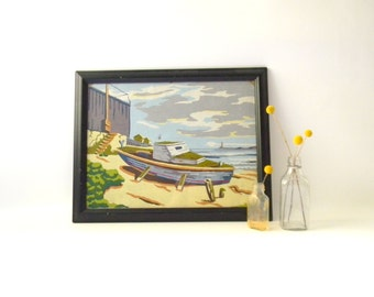 Vintage Framed Paint by Number Boat by the Ocean  / Original Artwork