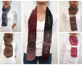 PATTERN Lace Skinny Scarf With Strap, Knitting Pattern, Crochet Pattern, Modern Minimalist, Knit Scarf, Amigurumi Pattern, Skinny Scarf, PDF